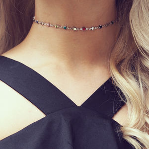 Fay Sun And Star Fancy Chain Choker In Silver - necklaces & pendants