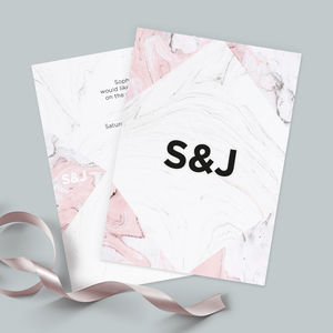 Pink Marble Wedding Invitations