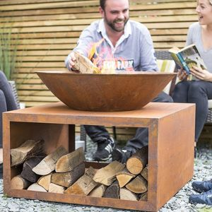 Oxidised Steel Firepit With Stand