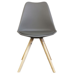 Cool Grey Copenhagen Chair With Wooden Legs - dining chairs