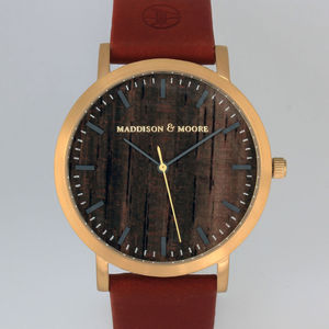 Classic Gold Red Vintage Leather Unisex Wood Watch - men's accessories
