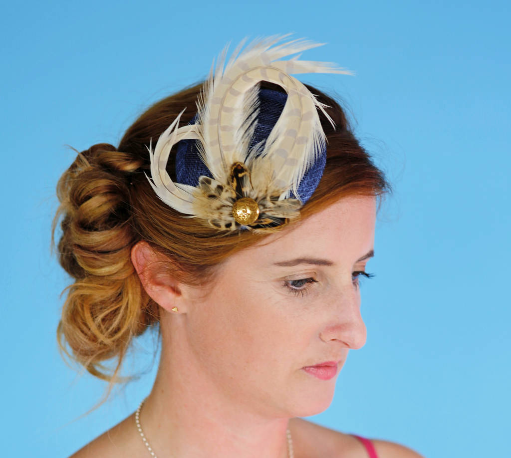 navy and gold woodland fascinator by holly young millinery ... 57281ab6b0d