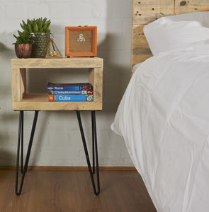 Reclaimed Scaffold Bed Side Table Hairpin Legs - bedside tables