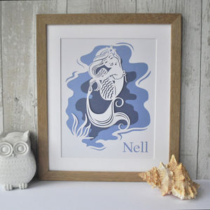 Personalised Mermaid Print Or Papercut Art