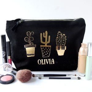 Personalised Cactus Toiletry Bag - make-up bags