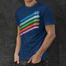 Retro Diagonal Bike Stripes Cotton Crewneck T Shirt
