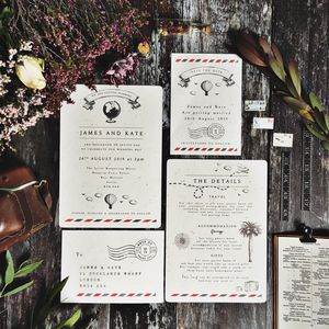 Vintage Travel Wedding Stationery Set - invitations