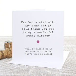 'From The Bump' Mummy Card - first mother's day cards
