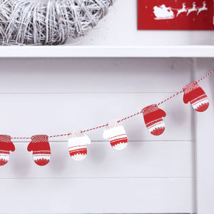 Red And White Christmas Mitten Wooden Bunting - garlands & bunting