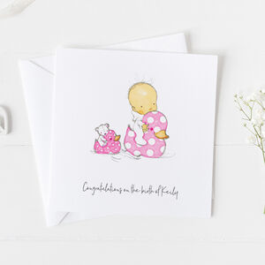 New Baby Card For Girls, Christening Card Girls ..3v9a