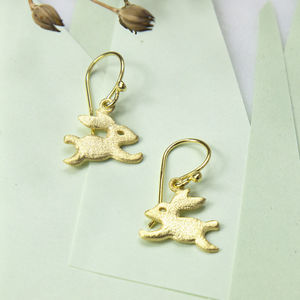 Gold Plated Sterling Silver Bouncing Bunny Earrings