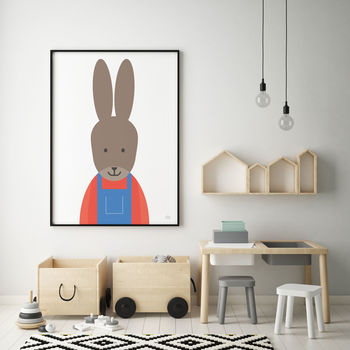 Rabbit In Dungarees Print