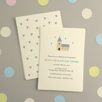 Personalised Twins Christening Invitations