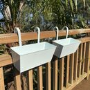 Set Of Two Ivory White Hanging Balcony Planters