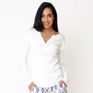 White Ribbed Cotton Pyjama Long Sleeve Top - women's fashion