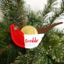 Personalised Robin Christmas Decoration With Pocket