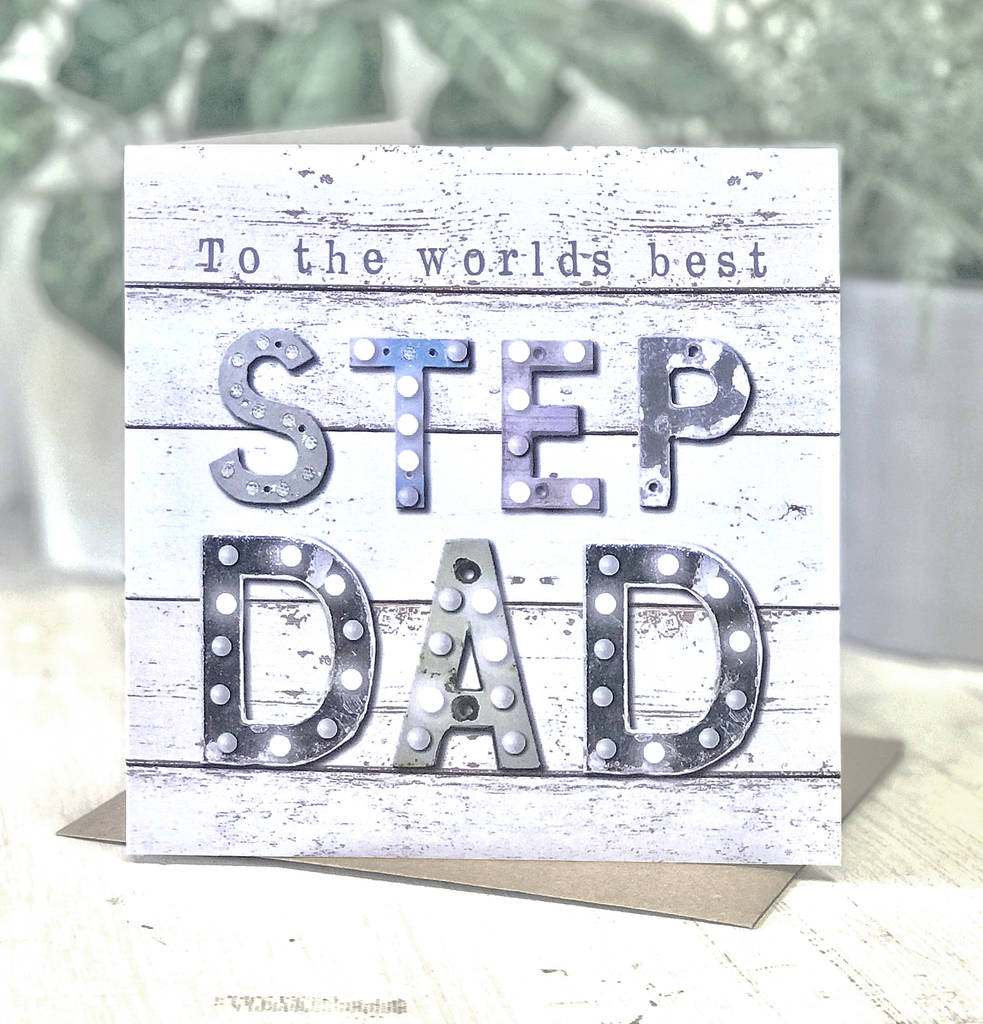 Worlds Best Stepdad Vintage Letters Greeting Card