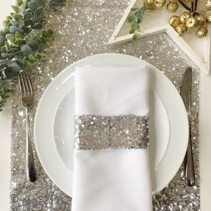 Christmas Silver Sequin Table Runner - dining room