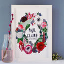 Personalised Autumn Flowers Wedding Paper Cut Print