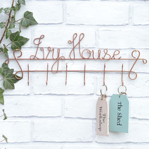 House Name Luxury Wire Key Holder - bedroom