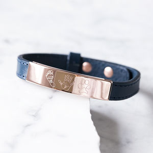 Personalised Men's Engraved Rose Leather Print Bracelet - best gifts for fathers