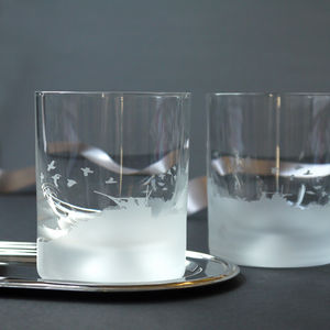 Pair Of Glass Grouse Scene Tumblers