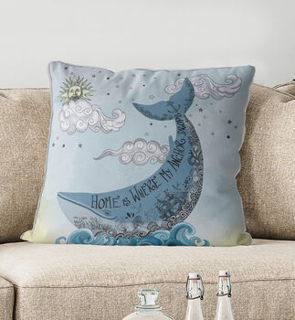 Blue Whale Cushion Home Is Where… New Home Gift