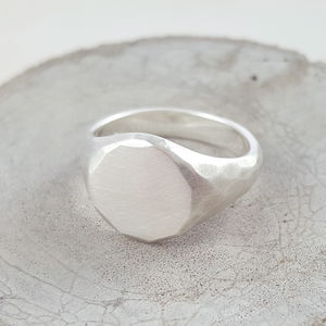Silver Textured Signet Ring - rings