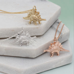 Sterling Silver Or Gold Stegosaurus Dinosaur Necklace