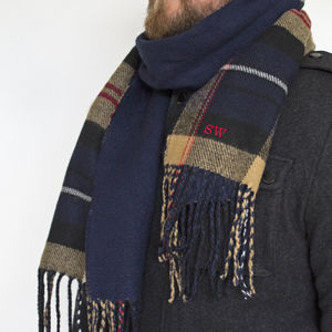 Men's Reversible Tartan Scarf With Personalisation