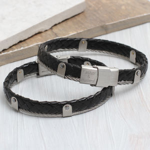 Personalised Men's Leather And Steel Cable Bracelet