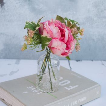 Artificial Peony Bouquet In Decanter Vase
