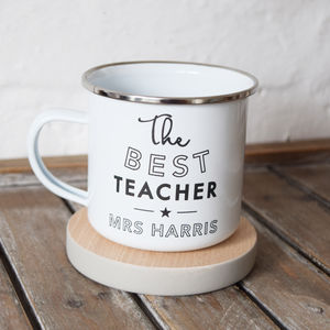 Personalised Best Teacher Enamel Mug