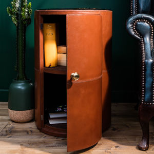 Round Leather Bedside Table
