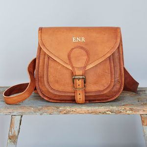 Personalised Curved Brown Leather Saddle Bag - summer sale