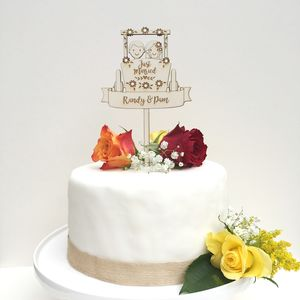 Personalied Wooden Wedding Cart Cake Topper