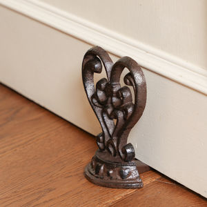 Scrolled Cast Iron Heart Door Stop