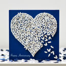 Happy Anniversary White Butterfly Heart Card