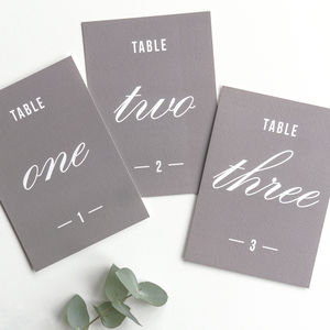 Traditional Style Table Numbers Or Names / Stone Grey