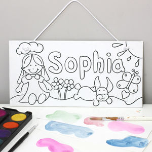 Girls Name Canvas Sign, Paint Your Own - more