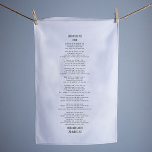 Song Lyrics Wedding Tea Towel