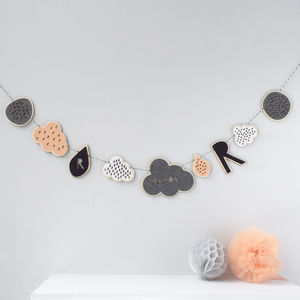 Personalised Cloud And Initial Garland - children's room