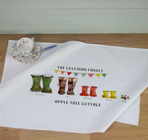Personalised Welly Boot Family Tea Towel - new in home