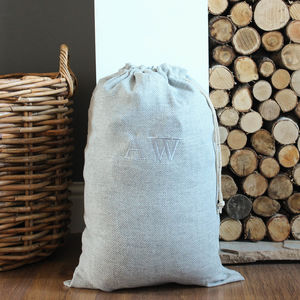 Personalised Grey Herringbone Wool Christmas Sack - stockings & sacks