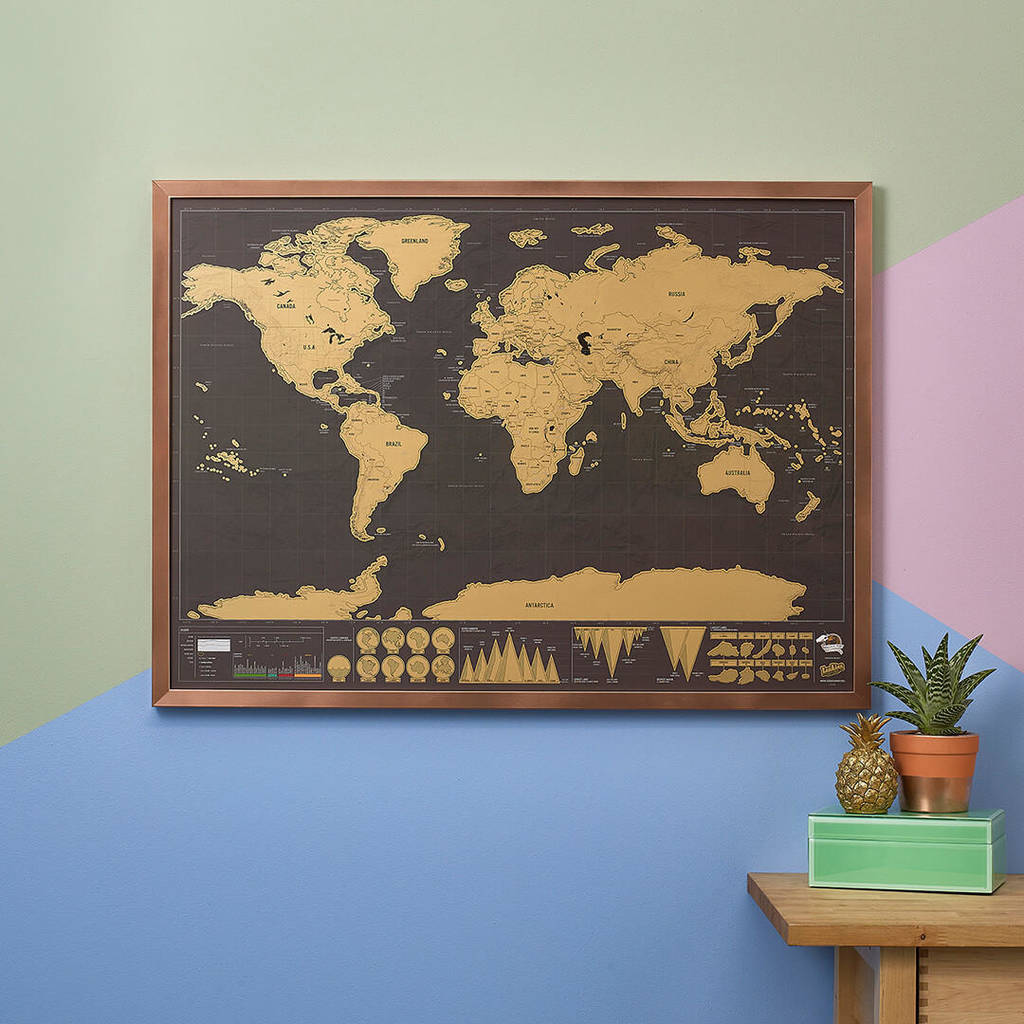 Deluxe Edition World Scratch Map By The Little House Shop - Framed scratch world map