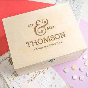 Personalised 'Mr And Mrs' Wedding Memories Keepsake Box - storage & organisers