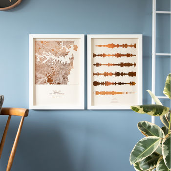 Custom Metallic Map And Sound Wave Prints Set Of Two