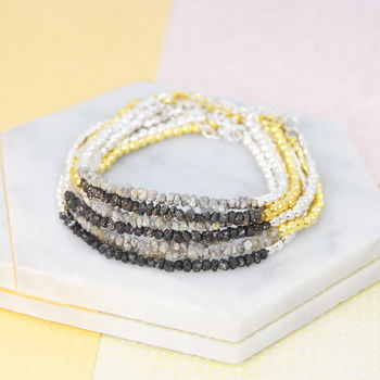 Single Gold/Silver Rough Diamond Birthstone Bracelet