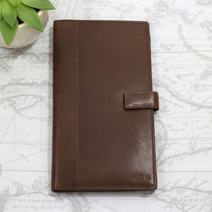 Personalised Vintage Leather Travel Wallet - frequent traveller