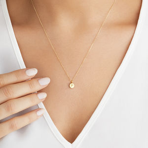 Extra Small Gold Or Silver Personalised Disc Necklace - gifts for her